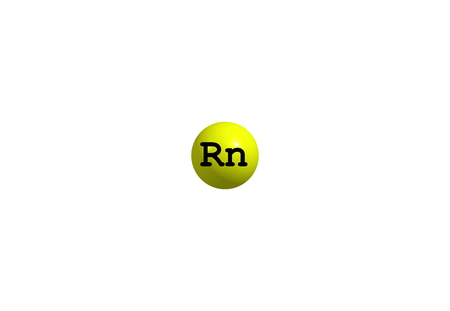 Radon is a chemical element with symbol Rn. It is a radioactive, colorless, odorless, tasteless noble gas. 3d illustration