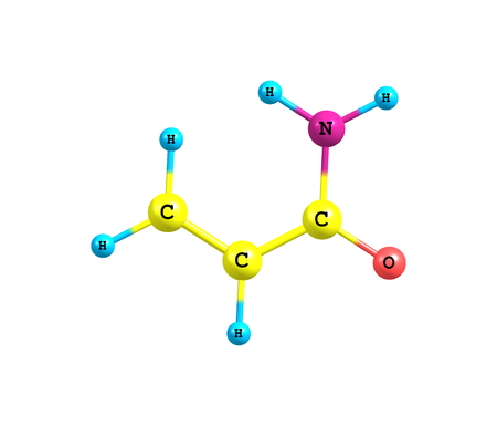 soluble: Acrylamide - acrylic amide - is a chemical compound. It is a white odorless crystalline solid, soluble in water, ethanol, ether, and chloroform. 3d illustration Stock Photo