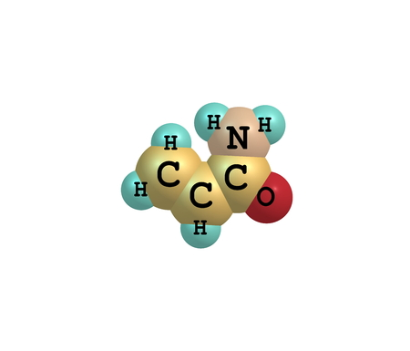 Acrylamide - acrylic amide - is a chemical compound. It is a white odorless crystalline solid, soluble in water, ethanol, ether, and chloroform. 3d illustration Stock Photo