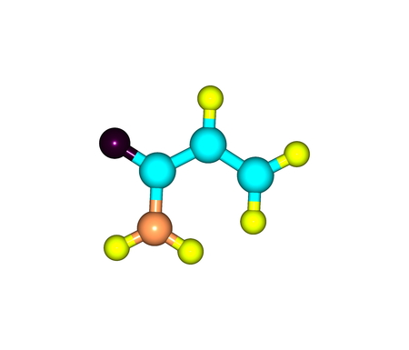amide: Acrylamide - acrylic amide - is a chemical compound. It is a white odorless crystalline solid, soluble in water, ethanol, ether, and chloroform. 3d illustration Stock Photo