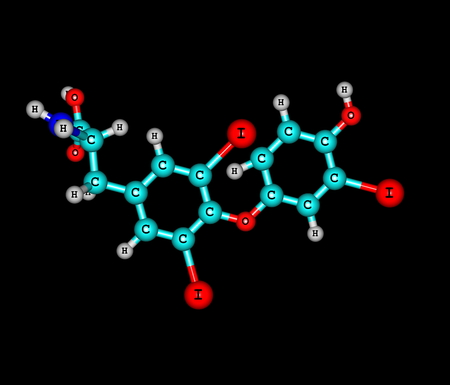 physiological: Triiodothyronine T3 is a thyroid hormone. It affects almost every physiological process in the body, including growth and development, metabolism, body temperature, and heart rate. 3d illustration
