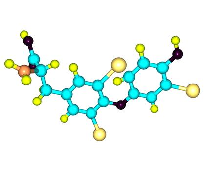 Triyodotironina T3 es una hormona tiroidea. Afecta casi todos los procesos fisiológicos en el cuerpo, incluyendo el crecimiento y el desarrollo, el metabolismo, la temperatura corporal, y el ritmo cardíaco. 3d ilustración