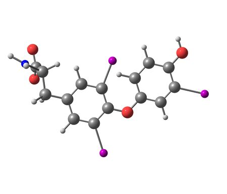 body temperature: Triiodothyronine T3 is a thyroid hormone. It affects almost every physiological process in the body, including growth and development, metabolism, body temperature, and heart rate. 3d illustration