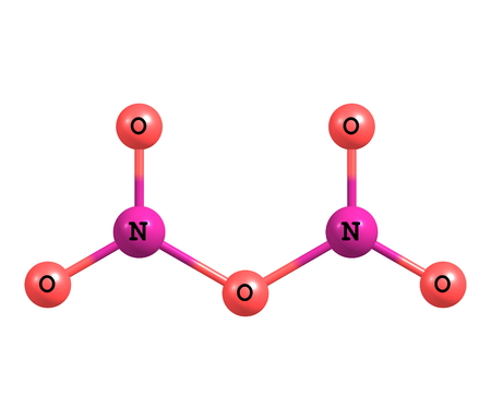 chemical bonds: Dinitrogen pentoxide or nitrogen pentoxide is the chemical compound with the formula N2O5. N2O5 is one of the binary nitrogen oxides, a family of compounds that only contain nitrogen and oxygen. 3d illustration