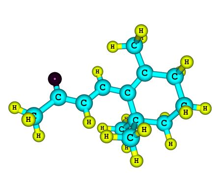 odor: Beta-ionone, the sweet-smelling molecule that gives many a flower its pleasant alluring aroma, is famed for its sexy odor. Molecular structure on white. 3d illustration
