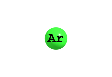 atomic symbol: Argon is a chemical element with symbol Ar and atomic number 18. It is in group 18 of the periodic table and is a noble gas. 3d illustration