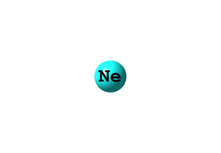 atomic symbol: Neon is a chemical element with symbol Ne and atomic number 10. It is in group 18 of the periodic table. Neon is a colorless, odorless, inert monatomic gas under standard conditions, with about two-thirds the density of air. 3d illustration
