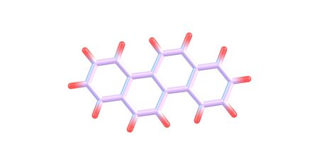 Chrysene is a polycyclic aromatic hydrocarbon - PAH - with the molecular formula C18H12. 3d illustration Stock Photo