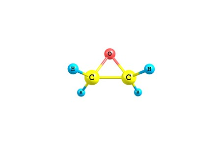 Ethylene oxide, also called oxirane, is the organic compound. It is oxide is a colorless flammable gas at room temperature, with a faintly sweet odor. 3d illustration Stock Photo