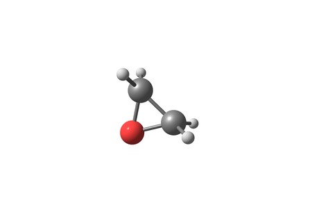 sterilization: Ethylene oxide, also called oxirane, is the organic compound. It is oxide is a colorless flammable gas at room temperature, with a faintly sweet odor. 3d illustration Stock Photo