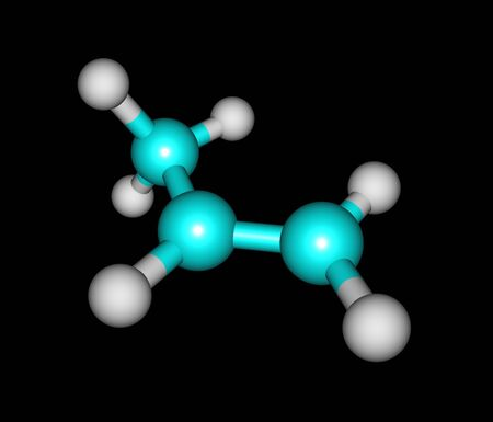 unsaturated: Propene - propylene, methylethylene - is an unsaturated organic compound having the chemical formula C3H6. 3d illustration