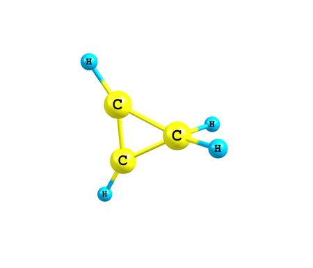simplest: Cyclopropene is an organic compound with the formula C3H4. It is the simplest cycloalkene. It has a triangular structure. 3d illustration Stock Photo