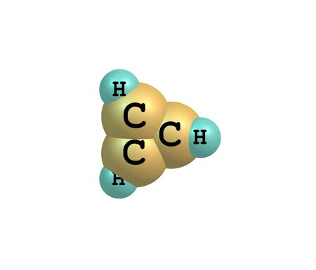 macromolecule: Cyclopropene is an organic compound with the formula C3H4. It is the simplest cycloalkene. It has a triangular structure. 3d illustration Stock Photo