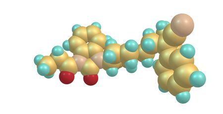 Bezitramide is an opioid analgesic. Bezitramide itself is a prodrug which is readily hydrolyzed in the gastrointestinal tract to its main metabolite, despropionyl-bezitramide. 3d illustration