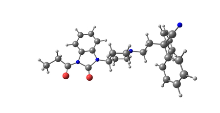 opioid: Bezitramide is an opioid analgesic. Bezitramide itself is a prodrug which is readily hydrolyzed in the gastrointestinal tract to its main metabolite, despropionyl-bezitramide. 3d illustration
