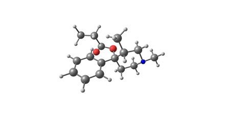 colic: Prodine or Prisilidine is an opioid analgesic that is an analog of pethidine . It was developed in Germany in the late 1940s. 3d illustration