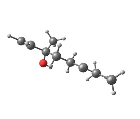 structural formula: Linalool is a naturally occurring terpene alcohol chemical found in many flowers and spice plants with many commercial applications. 3d illustration