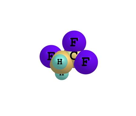 thermodynamic: Tetrafluoroethane - R-134a, Forane 134a, Genetron 134a, Florasol 134a - is a haloalkane refrigerant with thermodynamic properties similar to dichlorodifluoromethane. 3d illustration