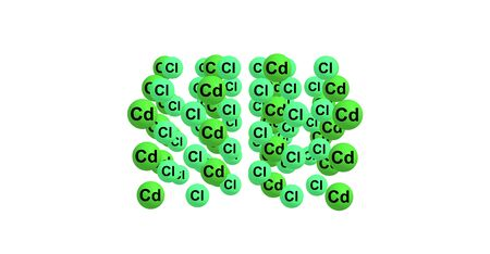 cadmium: Cadmium chloride is a white crystalline compound of cadmium and chlorine, with the formula CdCl2. It is a hygroscopic solid that is highly soluble in water and slightly soluble in alcohol. 3d illustration