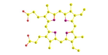 modified: Porphyrins are a group of heterocyclic macrocycle organic compounds, composed of four modified pyrrole subunits interconnected at their alpha carbon atoms via methine bridges. 3d illustration
