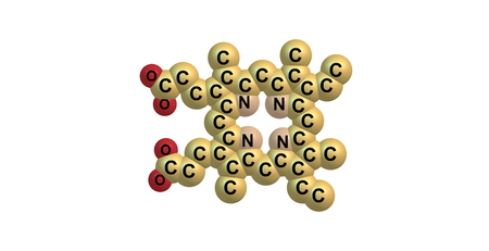 subunits: Porphyrins are a group of heterocyclic macrocycle organic compounds, composed of four modified pyrrole subunits interconnected at their alpha carbon atoms via methine bridges. 3d illustration