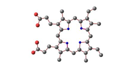 Las porfirinas son un grupo de compuestos orgánicos heterocíclicos macrociclo, compuesto por cuatro subunidades de pirrol modificados interconectados en sus átomos de carbono alfa a través de puentes de metino. 3d ilustración Foto de archivo - 62346866