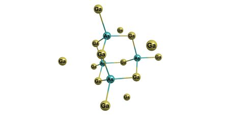 indium: Gallium arsenide - GaAs - is a compound of the elements gallium and arsenic. It is a bandgap semiconductor with a zinc blende crystal structure. 3d illustration