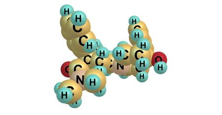 hidrógeno: La loperamida es un medicamento utilizado para disminuir la frecuencia de la diarrea. A menudo se utiliza para este propósito en la gastroenteritis. 3d ilustración Foto de archivo