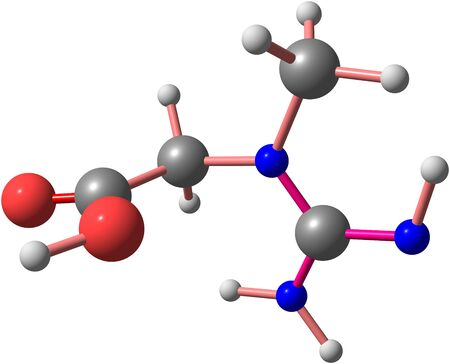 structural formula: Creatine is a nitrogenous organic acid that occurs naturally in vertebrates and helps to supply energy to all cells in the body, primarily muscle. 3d illustration