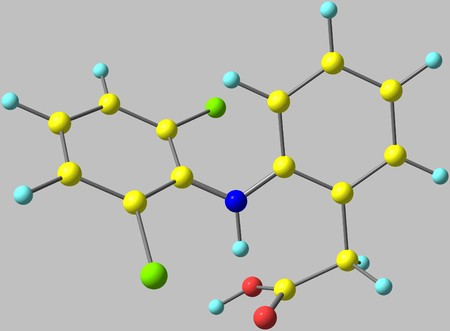 reducing: Diclofenac is a nonsteroidal anti-inflammatory drug taken or applied to reduce inflammation and as an analgesic reducing pain in certain conditions. 3d illustration
