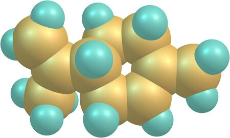 limonene: Limonene is a colorless hydrocarbon classified as a cyclic terpene. The common d-isomer possesses a strong smell of oranges. It is used in chemical synthesis as a precursor to carvone. 3d illustration