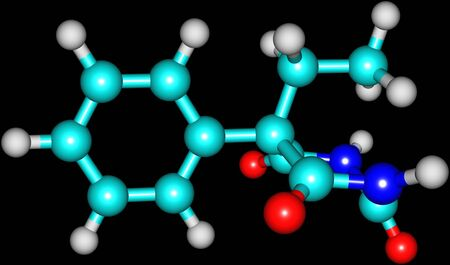anticonvulsant: Phenobarbital or phenobarb is a medication recommended by the World Health Organization for the treatment of certain types of epilepsy in developing countries. 3d illustration