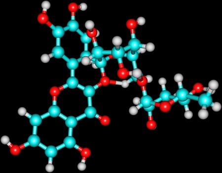 disaccharide: Rutin - rutoside, sophorin - is the glycoside between the flavonol quercetin and the disaccharide rutinose. 3d illustration