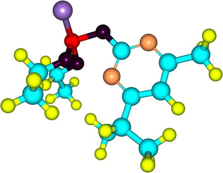 Diazinon ist eine farblose bis dunkelbraune Flüssigkeit, ist ein Thiophosphorsäureester 1952. ed Illustration entwickelt Standard-Bild