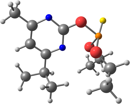white phosphorus: Diazinon is a colorless to dark brown liquid, is a thiophosphoric acid ester developed in 1952. ed illustration Stock Photo
