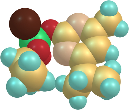 acetylcholinesterase: Diazinon is a colorless to dark brown liquid, is a thiophosphoric acid ester developed in 1952. ed illustration Stock Photo