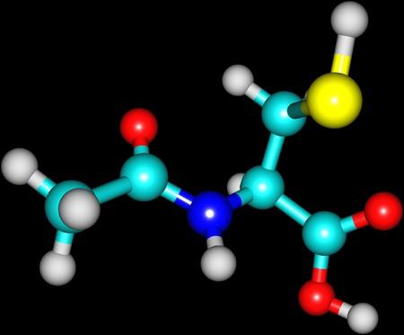 sobredosis: Acetilcisteína es un medicamento utilizado para tratar la sobredosis de paracetamol y para aflojar el moco grueso, como en la fibrosis quística o la enfermedad pulmonar obstructiva crónica. 3d ilustración