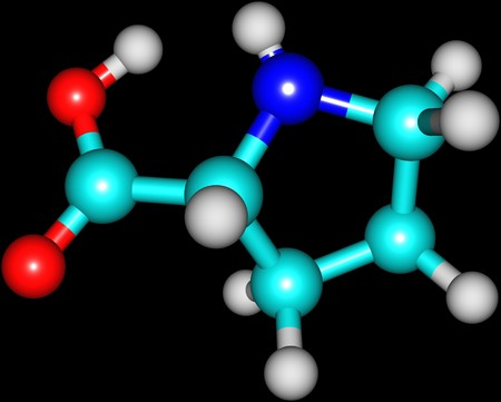biosynthesis: Proline is an alpha-amino acid that is used in the biosynthesis of proteins. 3d illustration