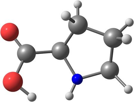 Prolin ist eine alpha-Aminosäure, die in der Biosynthese von Proteinen verwendet wird. 3D-Darstellung
