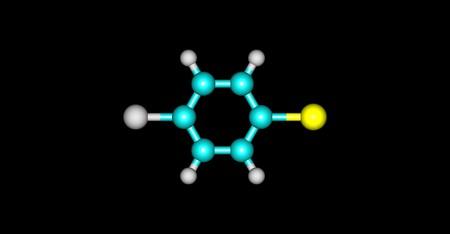 soluble: 1-Bromo-4-chlorobenzene molecule, halogen atoms and benzene. 3d illustration
