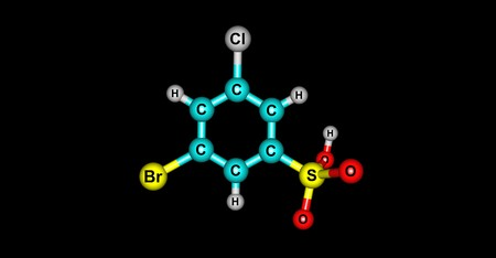3-Bromo-5-chlorobenzenesulphonic acid molecule. Halogens. 3d illustration on black