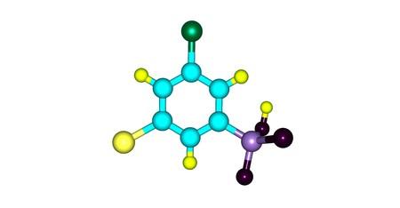 soluble: 3-Bromo-5-chlorobenzenesulphonic acid molecule. Halogens. 3d illustration on white Stock Photo