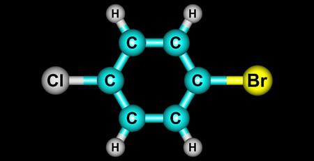 benzene: 1-Bromo-4-chlorobenzene molecule, halogen atoms and benzene. 3d illustration
