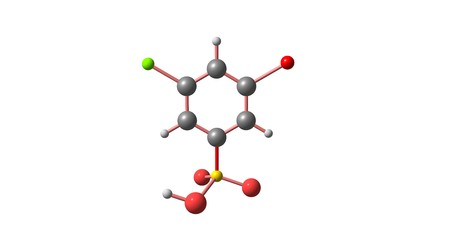 3-Bromo-5-chlorobenzenesulphonic acid molecule. Halogens. 3d illustration on white Stock Photo