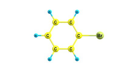 benzene: Bromobenzene is an aryl halide C6H5Br which can be formed by electrophilic aromatic substitution of benzene using bromine. It is a clear, colourless or pale yellow liquid. 3d illustration