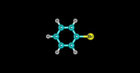 halide: Bromobenzene is an aryl halide C6H5Br which can be formed by electrophilic aromatic substitution of benzene using bromine. It is a clear, colourless or pale yellow liquid. 3d illustration