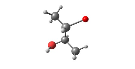soluble: 2S,3R3-Bromobutan-2-ol chemical compound isolated on white. 3d illustration Stock Photo