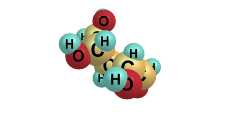 carbohydrate: Ribose is a carbohydrate with the formula C5H10O5. Ribose is a pentose monosaccharide or simple sugar. 3d illustration of ribose molecular structure