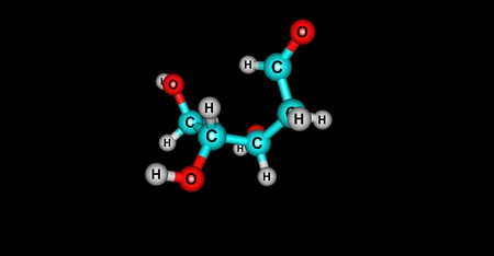 nucleoside: Deoxyribose or more 2-deoxyribose is a monosaccharide. Its name indicates that it is a deoxy sugar, 3d illustration Stock Photo