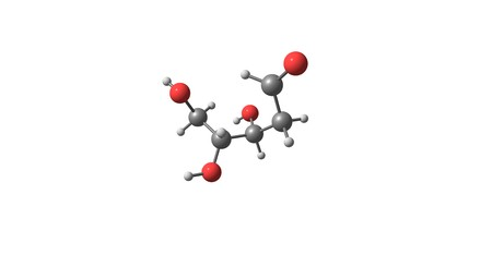 deoxyribose: Deoxyribose or more 2-deoxyribose is a monosaccharide. Its name indicates that it is a deoxy sugar, 3d illustration Stock Photo